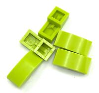 Lego 5 New Lime Slopes Curved 2 x 1 Sloped No Studs Pieces
