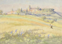 E. Lacey - c.1936 Watercolour, A Walk Through Summer Fields