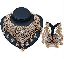 Women Gold Plated Austrian Crystal Necklace Earring Wedding Party Jewelry Set