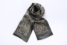 Long Silk Scarf for Men Dark Green Paisley Print SFM015
