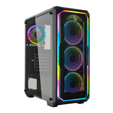 CASE GAMING PC ATX 4 VENTOLE DUAL HALO RAINBOW FRONTALE LED PANNELLO VETRO