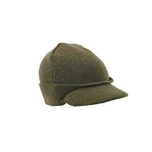 Army Style Watch Cap Peaked Jeep Hat Black Military Olive
