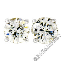 Classic Simple 14K White Gold .48ctw Round Brilliant Prong Diamond Stud Earrings