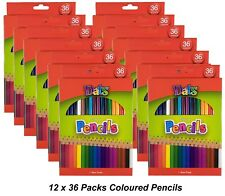 12 Packs x 36 Colour / Coloured Pencils Round Grip Art Colouring Drawing Kids