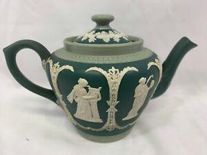 Stunning Antique Dudson Brothers Green Jasperware Teapot