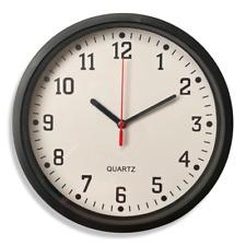 Round Wall Clock Bedroom Kitchen Clocks Quartz Sweep Home Black 22.5cm