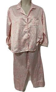 Miss Elaine Womans Pajamas set 2 Piece Pink Floral Satin Long Sleeve Size XL