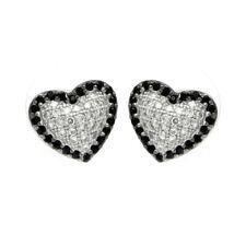 925 STERLING SILVER HEART STUD EARRING W/ LAB DIAMONDS/ SIZE 11MM BY 10.5MM