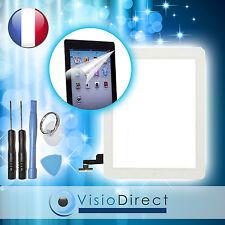 Vitre ecran tactile pour iPad 2 blanc, bouton et adhésif +film protecteur +outil