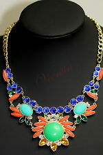 Sunflower Fashion Multicolour Stones Gold Plated Statement Style Necklace