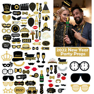 New Years Eve Party Photo Booth Props Masks Mustache Hat Glasses Party Supplies