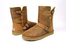 UGG Classic Short Dylyn Bomber Jacket Leather Sheepskin Chestnut Boot Size 6 US