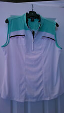 NWT DKNY Golf by JAMIE SADOCK White MING Green Navy Sleeveless Golf Shirt - XL