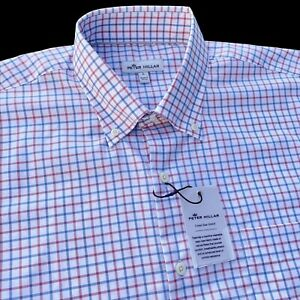 Peter Millar Crown Ease Stretch Button Down Red White Blue Shirt Large $148
