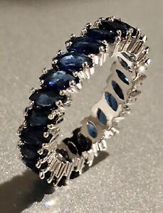 18k White Gold GF Eternity Ring made w Swarovski Blue Sapphire Marquise Band