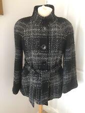 PLANET Wool /Alpaca/Mohair blend Black Check 3/4 length Coat Size 14