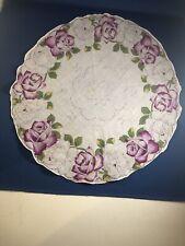 "Vintage Round Handkerchief Hanky W/ Red- Purple Flowers Rolled Edge 13"""