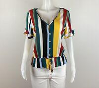 Express Women Size M Multicolor Short Sleeves Blouse Top Shirt. B42