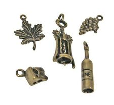 Wine Glass Charms Bronze Bottle Grapes Cork Screw Cheese Grape Leaf Set of 5 Lot