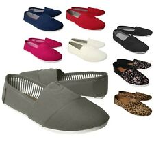 NEW Women's Canvas Slip On Flats Solid Colored Casual Shoes Loafers Slippers