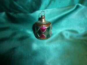 alter Christbaumschmuck Glas Trommel silber pink grün gold Vintage Weihnachten