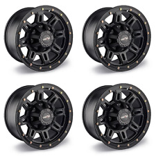 "Set 4 18"" Vision 400 Incline Black Wheels 18x9 6x5.5 0mm Chevy GMC Yukon 6 Lug"