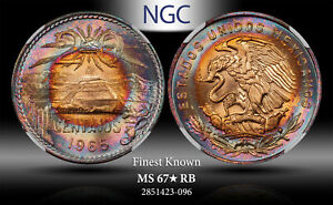 1965-Mo MEXICO 20 CENTAVOS NGC MS67* RB FINEST KNOWN ***TONED***