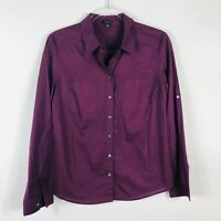 Ann Taylor Size 6 Small Solid Purple Button Shirt Top Long Sleeve Pockets Career