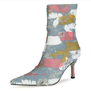 Sexy Women's Pointy Toe Denim Stiletto High Heel Ankle Boots Office Work Shoes