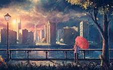 Encadrée Imprimer-FEMME AVEC PARAPLUIE ROUGE en regardant la rivière (Photo Poster art)
