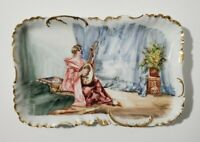 """H&Co Limoges platter/tray hand painted woman playing mandolin 10.25"""""""