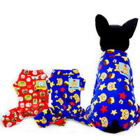 Printed Warm Dog Pajamas for Small Pet Cat Clothes Winter Poodle Jumpsuit Outfit
