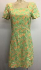 Lilly Pulitzer Recent Vintage Orange Green Butterfly Dress Womens Size 8