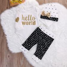 Baby Body Strampler Set 3 tlg Neugeborene Gold Mädchen Geschenk Geburt Taufe 68