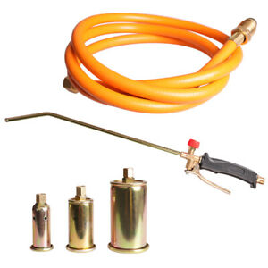 """Propane Weed Torch Fire Burner lawn Ice Melter w/60"""" Hose + 3Nozzles Portable"""