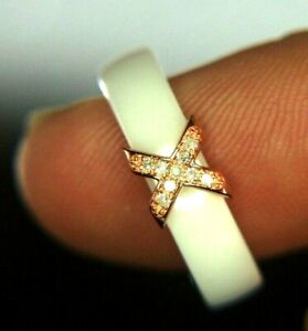 White Ceramic Women's Ring - Diamonds .06CTTW - Rose Gold Plated Over Silver