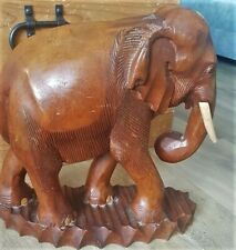More details for solid wooden carved elephant heavy fairly large