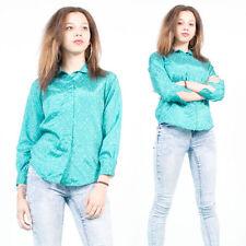 Para mujer Vintage Años 70 Estilo Cuello Alto Azul spotted patrón sedoso Camisa Blusa 10