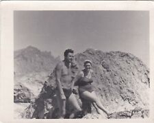 1950s Handsome nude muscle man woman on beach gay interest Russian Soviet photo