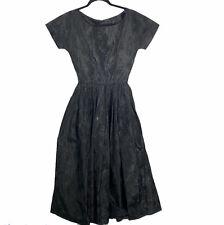 New listing Vintage 50s 60s Black Taffeta Jacquard Midi Tea Dress Handmade