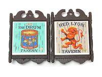 2 Vintage Enesco Cast Iron Hand painted Tile Trivets: Red Lyon Tavern & The Drum