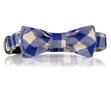 Blue and White Plaid Bow Dog Collar-  Stylish Custom Dog Collar (Bow Tie Collar)