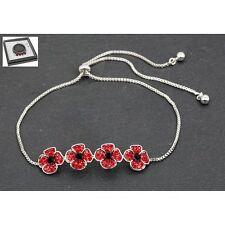 Equilibrium Silver Plated Poppy Friendship Bracelet 4 Crystal Poppys Adjustable
