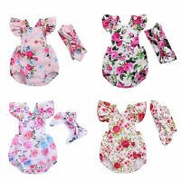 Newborn Infant Baby Girls Floral Romper Bodysuit Jumpsuit Outfits Summer Clothes
