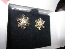 Vintage AVON Gold Tone Snowflake Earrings w/ Surgical Steel Posts *New* 1997