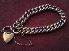 Antique Victorian 9ct Rose Gold Heart Padlock Night & Day Charm Bracelet 15.5 gm