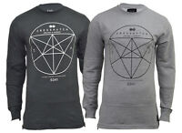 Mens Crosshatch Sweatshirt Long Sleeve Classic Casual Tee Longline Top