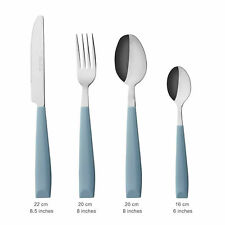 EXZACT  16 PCS Cutlery Set - Stainless Steel with Plastic Wide Handles