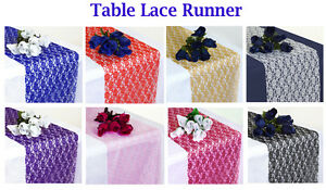 """PACK of 10 Wedding 12"""" x 108"""" Lace Table Runner Party Venue banquet Decoration U"""