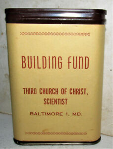 Pocket Like Tobacco Tin Bank BUILDING FUND 3RD CHURCH OF CHRIST SCI BALTIMORE MD